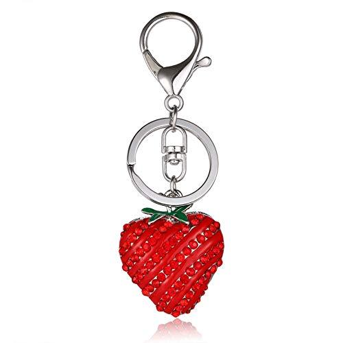 Schlüsselanhänger Schlüsselring Erdbeerrot Schöne charmante Anhänger Kristall Geschenk Geld zu mieten Schlüsselring Kette Frucht Serie Mode