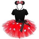 Lito Angels Disfraz Minnie Mouse para Niña con Orejas de Ratón Aro de Pelo, Vestido de Tul Falda Tutu con Lunares, Talla 2-3 años, Rojo