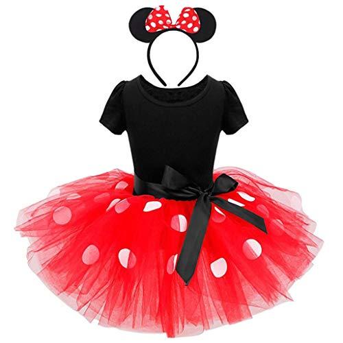 Lito Angels Vestito Costume da minnie per bambina, con orecchie topo cerchio per capelli, Taglia 2-3 Anni, Rosso 261