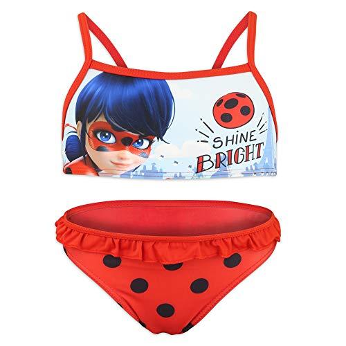 Miraculous LadyBug e Cat Noir - Costume da Bagno Bikini 2 Pezzi Mare Piscina - Bambina - Prodotto Originale con Licenza Ufficiale [1807 Rosso - 4 A - 104 cm]