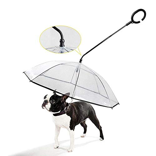 ZYLX Telescopic Handle Transparent Pet Umbrella with Dog Leash for Rain Walking Dog Umbrella Puppy with Umbrella Dog Raincoat-Transparent