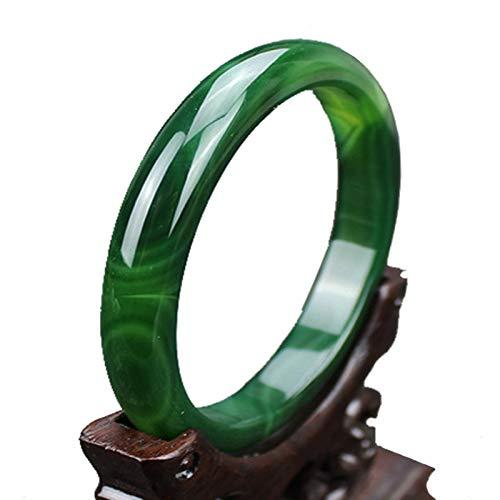 AMQ Pulsera Pulsera de ágata Verde acuática Natural Pulsera de Jade de calcedonia Verde Pulsera de Jade de Gema,62-64mm
