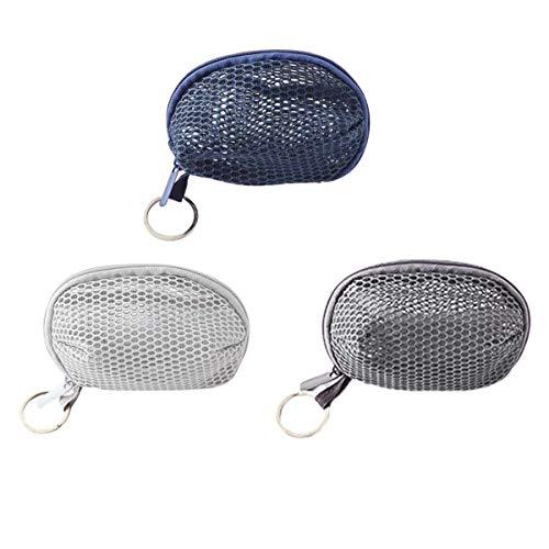 Lot de 3 sacs de rangement en maille stéréo - Parfait pour ranger de petits objets, maquillage, mixeur de beauté, rangement des clés, mini portefeuille, cinq couleurs disponibles.
