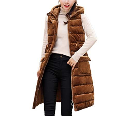 Gilets voor Vrouwen Goud Fluwelen Gewatteerde Vest Down Vest Jas en Lange Secties voor Koud Weer