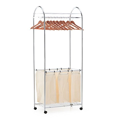 Organize It All 1777W-1 laundry sorter, Center, Silver Natural