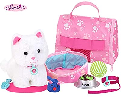 """Sophia's 18"""" Doll Sized Pet Cat with Carrier, Bed & Accessories 10Piece Set 6"""" Soft White Kitten"""