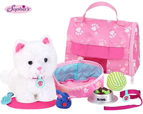 Sophia's 18' Doll Sized Pet Cat with Carrier, Bed & Accessories 10Piece Set 6' Soft White Kitten