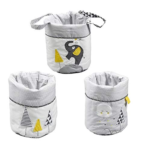 SAUTHON BABY DECO - Lot de 3 corbeilles gigogne tissu babyfan