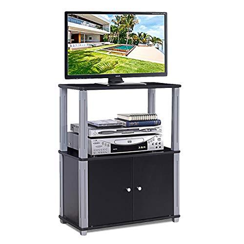 COSTWAY Fernsehtisch, TV Möbel Regal Tisch Schrank, Fernsehschrank, Sideboard für Schlafzimmer, Wohnzimmer (schwarz)