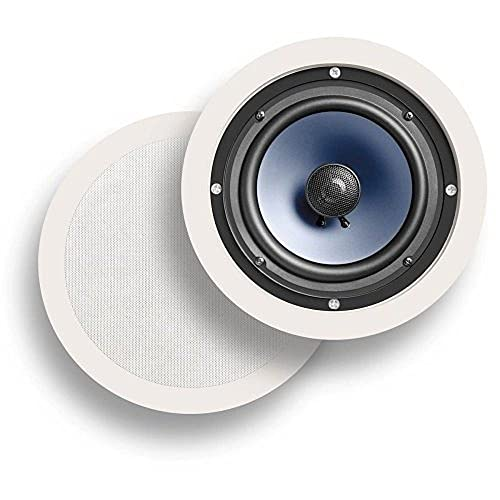 """Polk Audio RC60i 2-way Premium In-Ceiling 6.5"""" Round Speakers, Set of 2 Perfect for Damp and Humid Indoor/Outdoor Placement - Bath, Kitchen, Covered Porches (White, Paintable Grille)"""