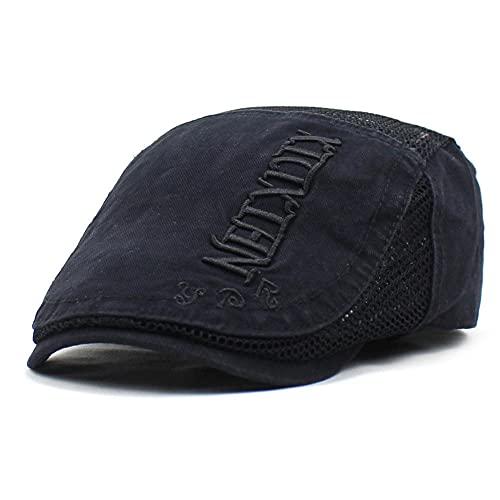 WQZYY&ASDCD Boinas Sombreros Gorras Gorra Transpirable De Malla De Boina para Hombre Gorra Delantera Ajustable Sombrero De Anciano Ajustable-Negro_Ajustable