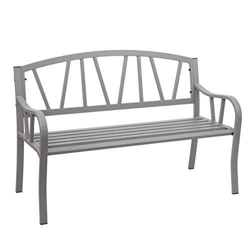 Mendler Gartenbank HWC-F53, Bank Parkbank Sitzbank, 2-Sitzer pulverbeschichteter Stahl ~ grau