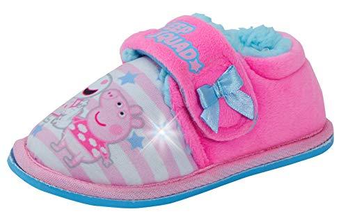 Peppa Pig Pantuflas con luz para niñas con Forro Polar y Luces Intermitentes, Zapatos para casa, Color Rosa, Talla 24.5 EU
