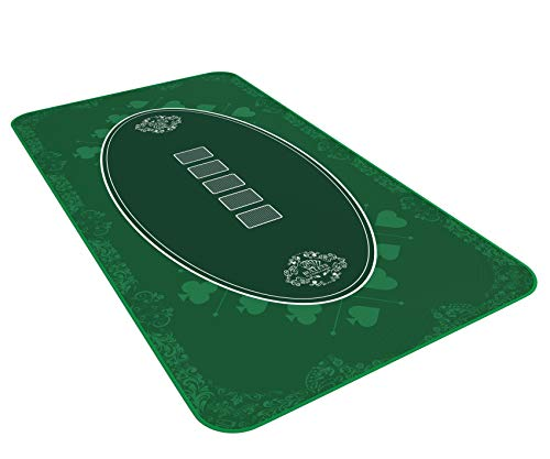 Bullets Playing Cards Designer Pokermatte grün in 140 x 75cm für den eigenen Pokertisch - Deluxe Pokertuch – Pokerteppich – Pokertischauflage