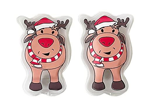 2er Pack Taschenwärmer Rentier mit roter Nase (Handwärmer) z.B. als Wichtelgeschenk