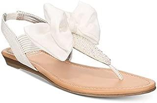 Material Girl Swan Flat Thong Sandals White Glitter 7.5 M
