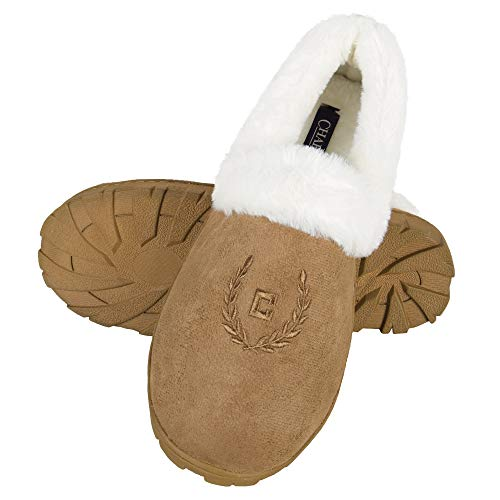 Chaps Women's House Slipper Moccasin Warm Fuzzy Memory Foam Micro Suede Indoor Outdoor Comfort, Tan, Large (8-9)