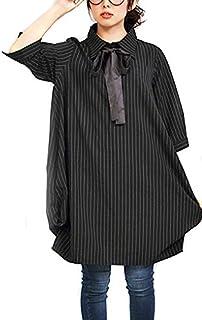 (ゴールドジャパン)Goldjapan 大きいサイズ レディース ワンピース ミディアム ストライプ ブラック シャツ
