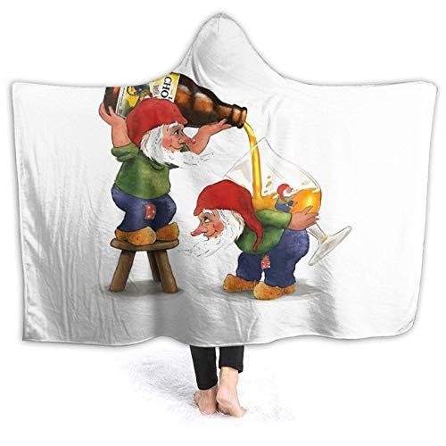 XCNGG Manta con Capucha Hooded Blanket Throw Dwarf Chouuff Super Soft Sherpa Fleece Blanket Hood Poncho Cloak Cape