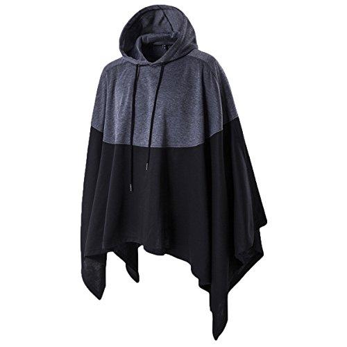 Haseil Men's Casual Pullover Hoodies Bat Sleeves Hooded Cloak Phocho Cape Coat, Black, Large