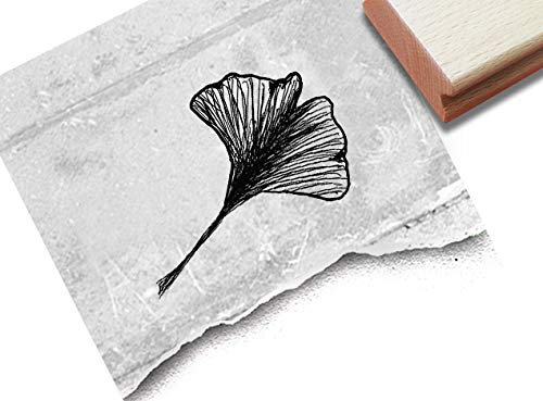 Stempel - Motivstempel Ginkgo-Blatt - Bildstempel Geschenk, Schule Kita Hobby Beruf, Karten Servietten Basteln Deko - von zAcheR-fineT