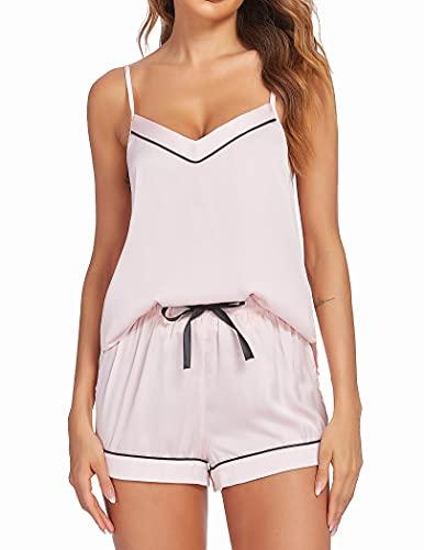 Ekouaer Two Piece Pajama Set Women's Satin Camisole Sleepwear Set Summer Cute Sleep Tops with Lounge Shorts (Pink,M)