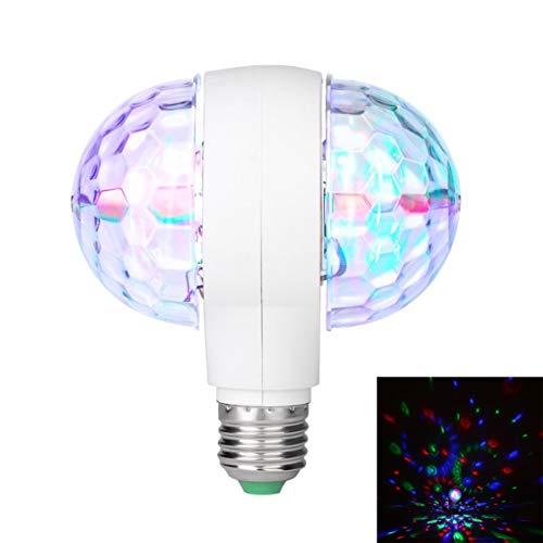 Bombilla LED giratoria de 6 vatios con lámpara de disco de escenario mágico de doble cabezal E27 de doble cabeza para KTV Disco Bar DJ Ballroom Home Club WEIWEITOE