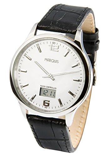 Elegante Herren Funkarmbanduhr mit Junghans-Uhrwerk, Edelstahlgehäuse, Lederarmband 964.4719.78