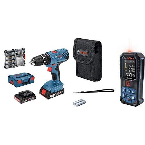 Bosch Professional 18V System GSB 18V-21 - Taladro percutor a batería, 55 Nm, 1800 rpm, 2 baterías x 2.0 Ah, set 40 puntas, en L-BOXX + Bosch Professional Medidor láser