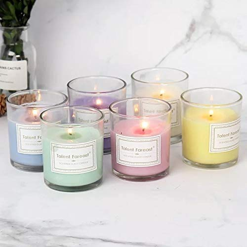 Scented Candles for Home - Set of 3 (10,6OZ/pcs - 3Pcs) - Highly Scented & Long Lasting - 100+ Hours Burn - Glass Jar Candles - Vegan Natural Soy - Kiwi - Lilac Peony - Fresh Rain