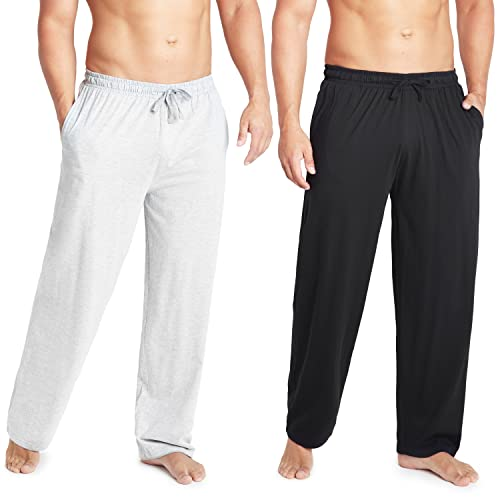 CityComfort Pantalones Largos de Pijama, Pack de 2 Pantalones Hombre De Algodón, Ropa Hombre M - 3XL (Negro/Gris, L)