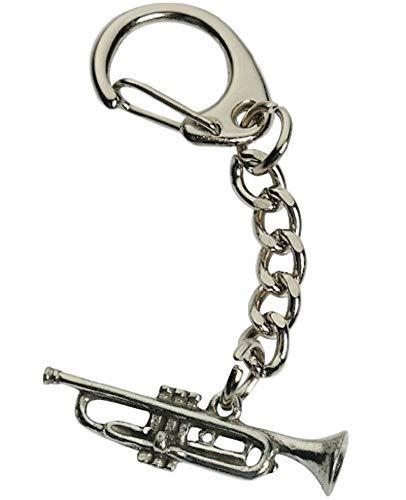 Smartbadge® Trompeten-Schlüsselanhänger, handgefertigt, aus englischem bleifreiem Zinn, WA TRPKR + 59 mm Anstecker