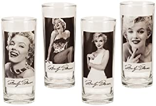 Vandor 70002 Marilyn Monroe 4 pc 10 oz Glass Set, Black and White