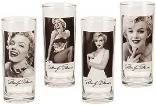Vandor 70002 Marilyn Monroe 4 pc 10 oz Glass Set, Black and White