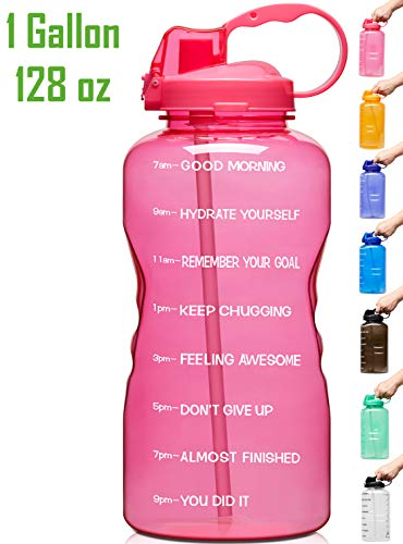 Leak-Proof Large 128 oz BPA Free Water Bottles for Sports Gym Fitness Work Wide Mouth AOMAIS Gallon Water Bottle with Motivational Time Marker