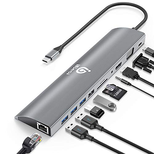 iBesi USB C Hub Laptop Dockingstation 11 in 1 Typ C Hub Adapter mit 4K HDMI, 1080P VGA, Gigabit-Ethernet-Anschluss, 3 USB3.0, 1 USB2.0, SD/TF-Kartenleser, USB-C PD 3.0, Audio für MacBook/Pro