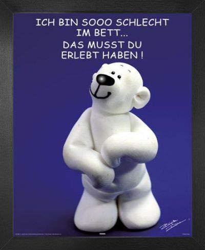 1art1 Tatzino Mini-Poster und MDF-Rahmen - Schlecht Im Bett (50 x 40cm)