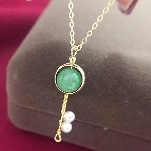 AAHHYY Schlüssel Halskette Süßwasser Perle handgefertigte Anhänger verstellbare Schlüsselbein Kette Mode Jane,A