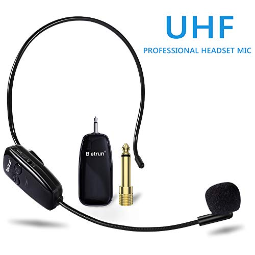 Wireless Microphone Headset, UHF Wireless Headset Mic System, 160ft Range, Headset Mic and Handheld Mic 2 in 1, 1/8''&1/4'' Plug, for Speakers, Voice Amplifier, PA System (Not Supported iPhone & AUX)