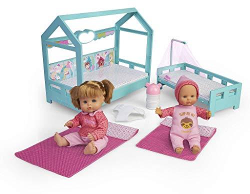 Nenuco- Hermanitas, muñecas bebé con Cama para Dormir (Famosa 700015776)