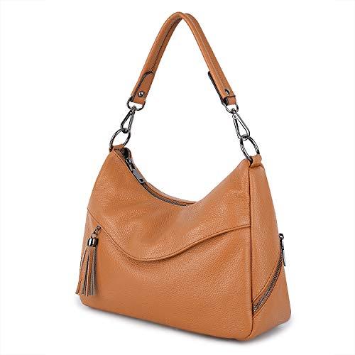 YALUXE Handtasche Echtleder Damen-Kuhfell-Geldbeutel-Tasche modische Umhängetasche Braun