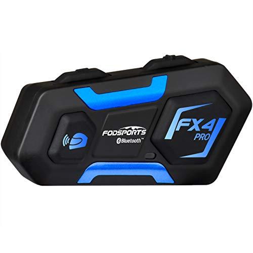 最新版 バイク インカム FODSPORTS FX4 PRO 4人同時通話 Bluetooth4.2 FMラジオ Hi-Fi高音質 IPX6防水 ユニバーサル バイク用インカム 最大18時間連続使用 無線インターコム Siri/S-voice ハンズフリー通話 バッテリー残量検知機能 2種類マイク付き 日本語音声案内&取扱説明書 1年間品質保証 技適認証済み(1台)