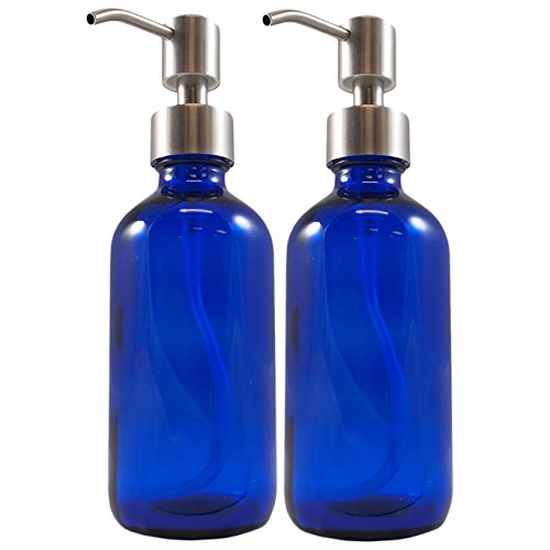 Cornucopia 8oz Cobalt Blue Glass Bottles w/Stainless Steel Pumps (2 pack), Boston Round Bottles for Essential Oils, Lotions and Liquid Soap