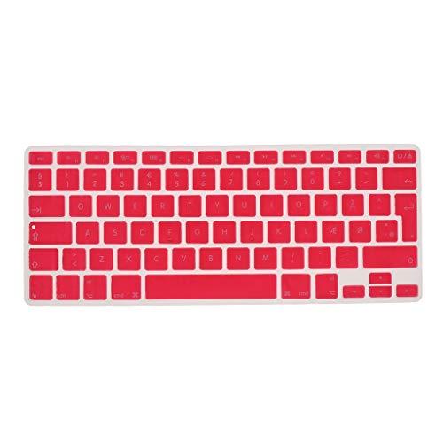 Shiwaki Dänische Phonetische Tastatur Schutzhülle, Kabellose Tastatur Schutzhülle Für 13,3 Zoll 15pro MacBook - Rosa