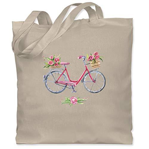 Shirtracer Vintage - Vintage Fahrrad Wasserfarbe Blumen - Unisize - Naturweiß - tragetaschen stoff - WM101 - Stoffbeutel aus Baumwolle Jutebeutel lange Henkel