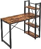 Plasaig Escritorio con estante, 120 cm de largo, mesa para ordenador con estantes, mesa de oficina, mesa de oficina, mesa de trabajo, oficina en casa, fácil montaje