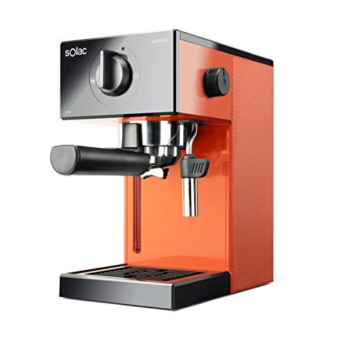 Solac CE4503 Squissita Easy Orange - Cafetera espresso, 20 bar, Double Cream, Espresso y Cappuccino, 1050 W, Portafiltros 1 ó 2 cafés, Monodosis/molido, Vaporizador de acero inoxidable, 1.5 l, Naranja