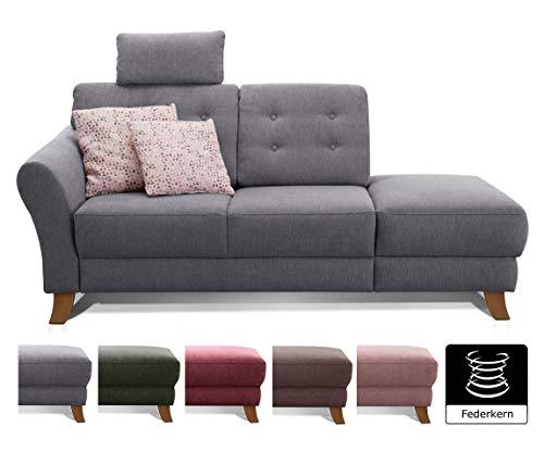 Cavadore Recamiere Trond mit Federkern / Modernes Sofa im Landhausstil mit Armteil links / Inkl. Kopfstütze und Rückenkissen / 194 x 89 x 92 / Flachgewebe grau