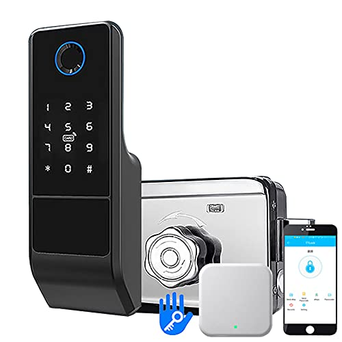 NBXLHAO Water Proof Fingerprint Lock, 5 In 1 Smart Card - Digital Password - Key- Remote App (TT- Lock), With Gateway/For Door Thickness (30~80mm)