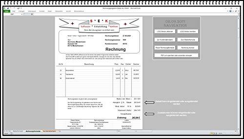 Rechnungssoftware Rechnungsdruckerei Rechnungsprogramm Rechnungen schreiben sehr leichte Bedienung MS Excel APP ohne Folgekosten für alle Jahre